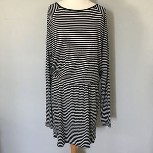 Navy & White Striped Long Sleeve Dress